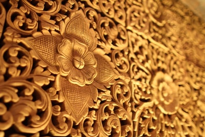 gold-colored floral decor