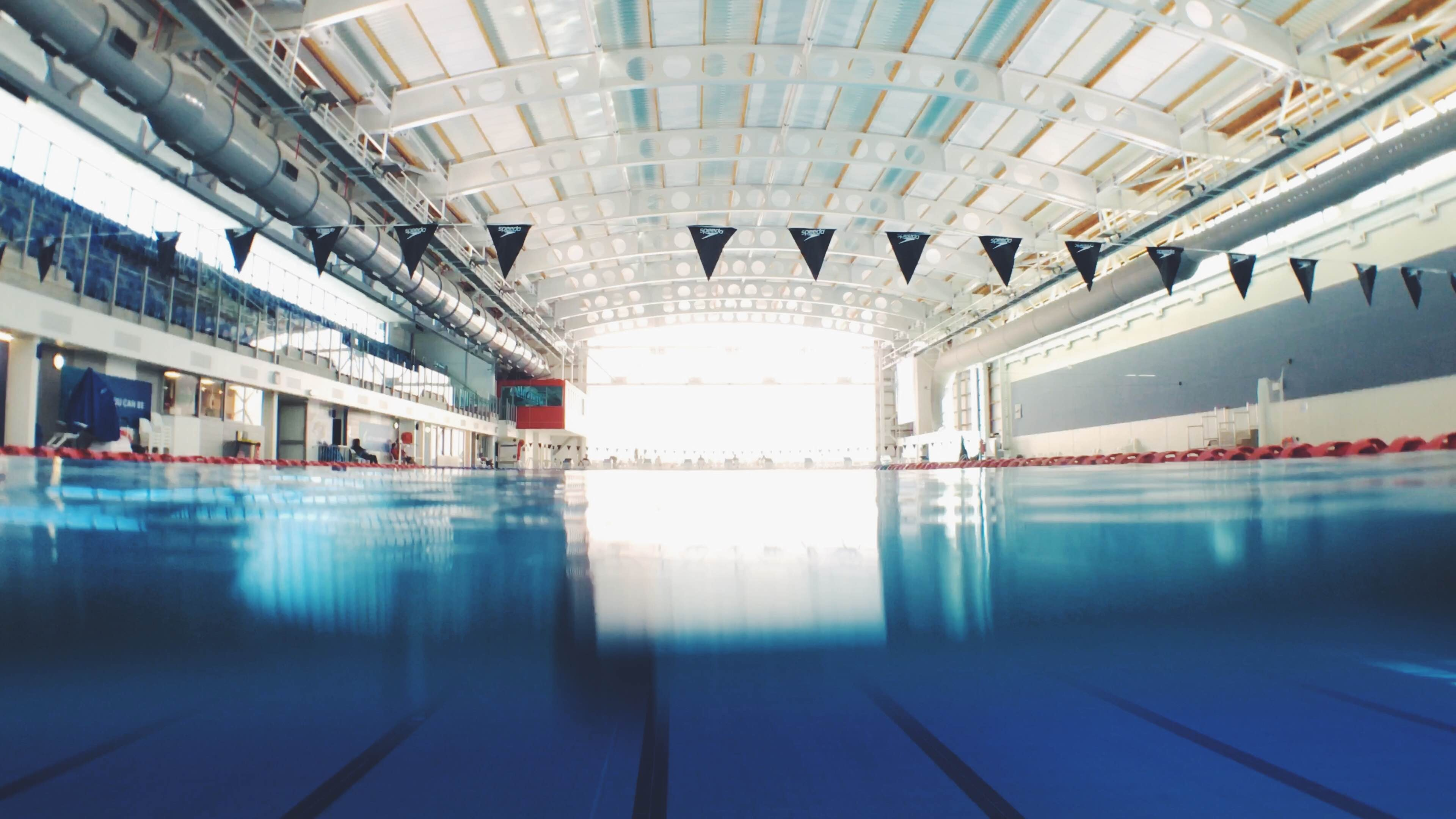 An indoor recreational pool with swimming lanes divided at AUT Millennium