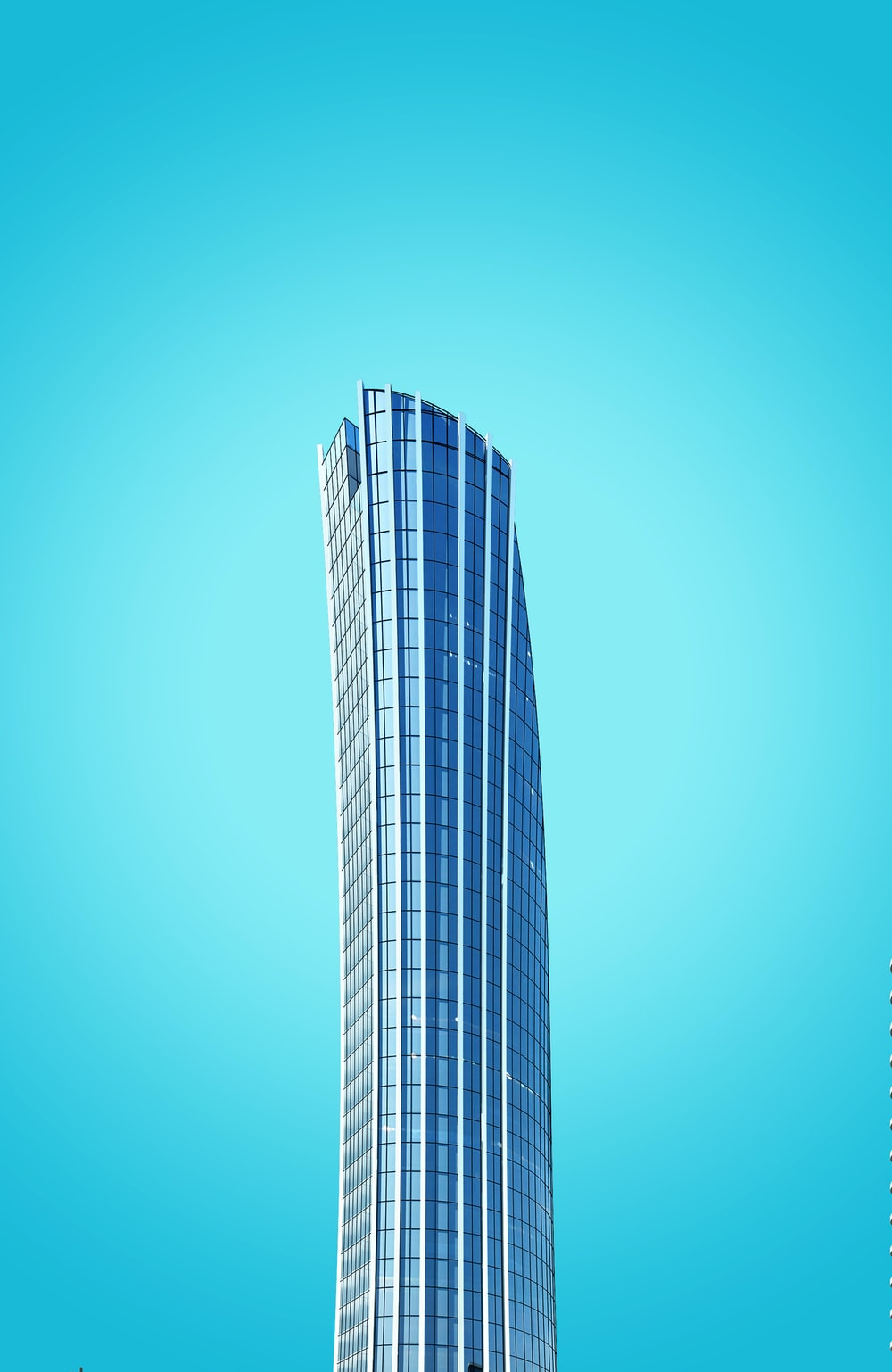 curtain-wall high-rise building under blue sky