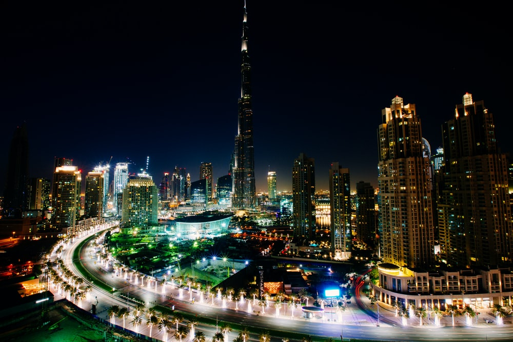 landscape photography of Burj Khalifa, Dubai at night