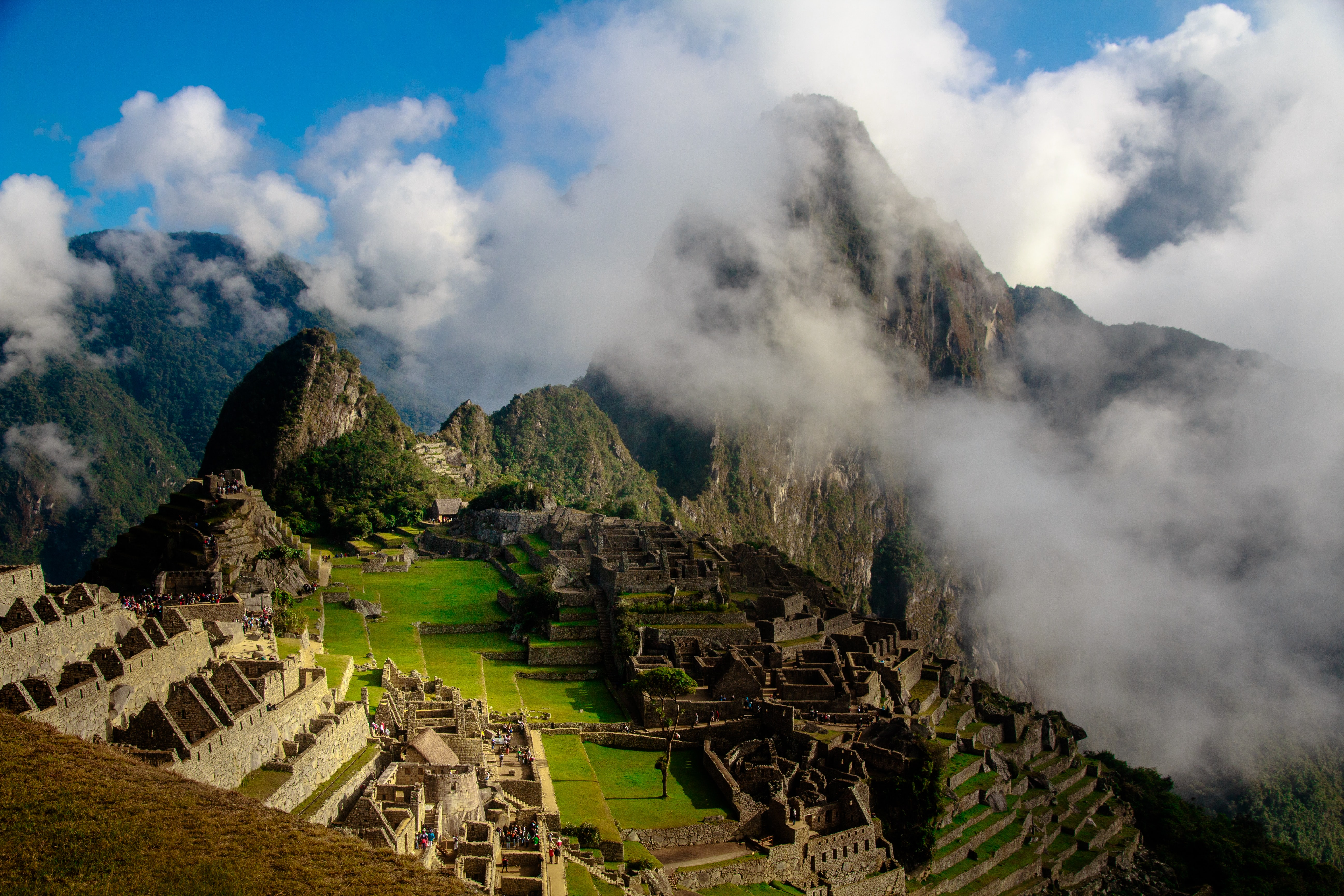 Aerial view of Machu Picchu on a cloudy day