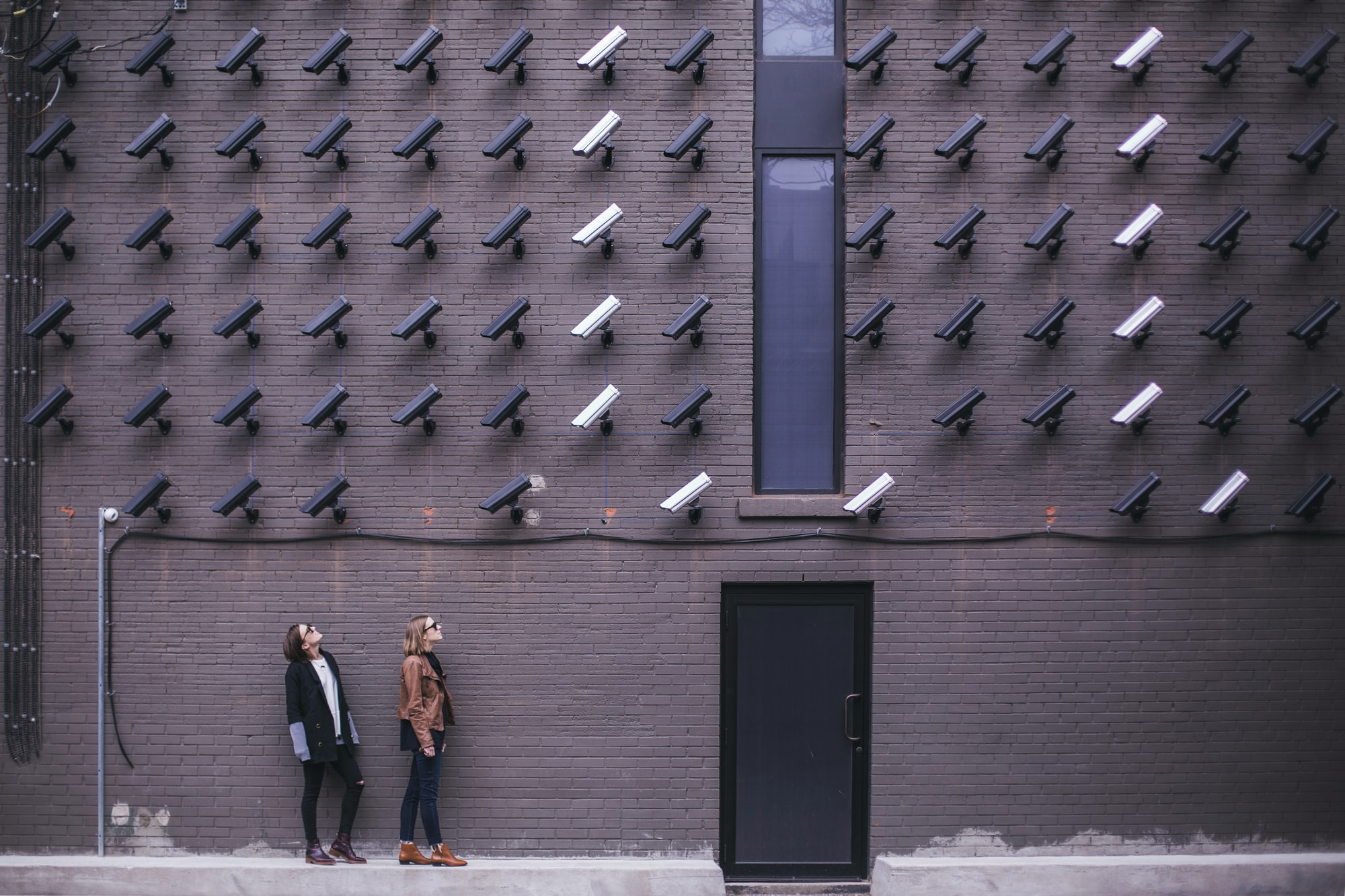 Women look at security cameras
