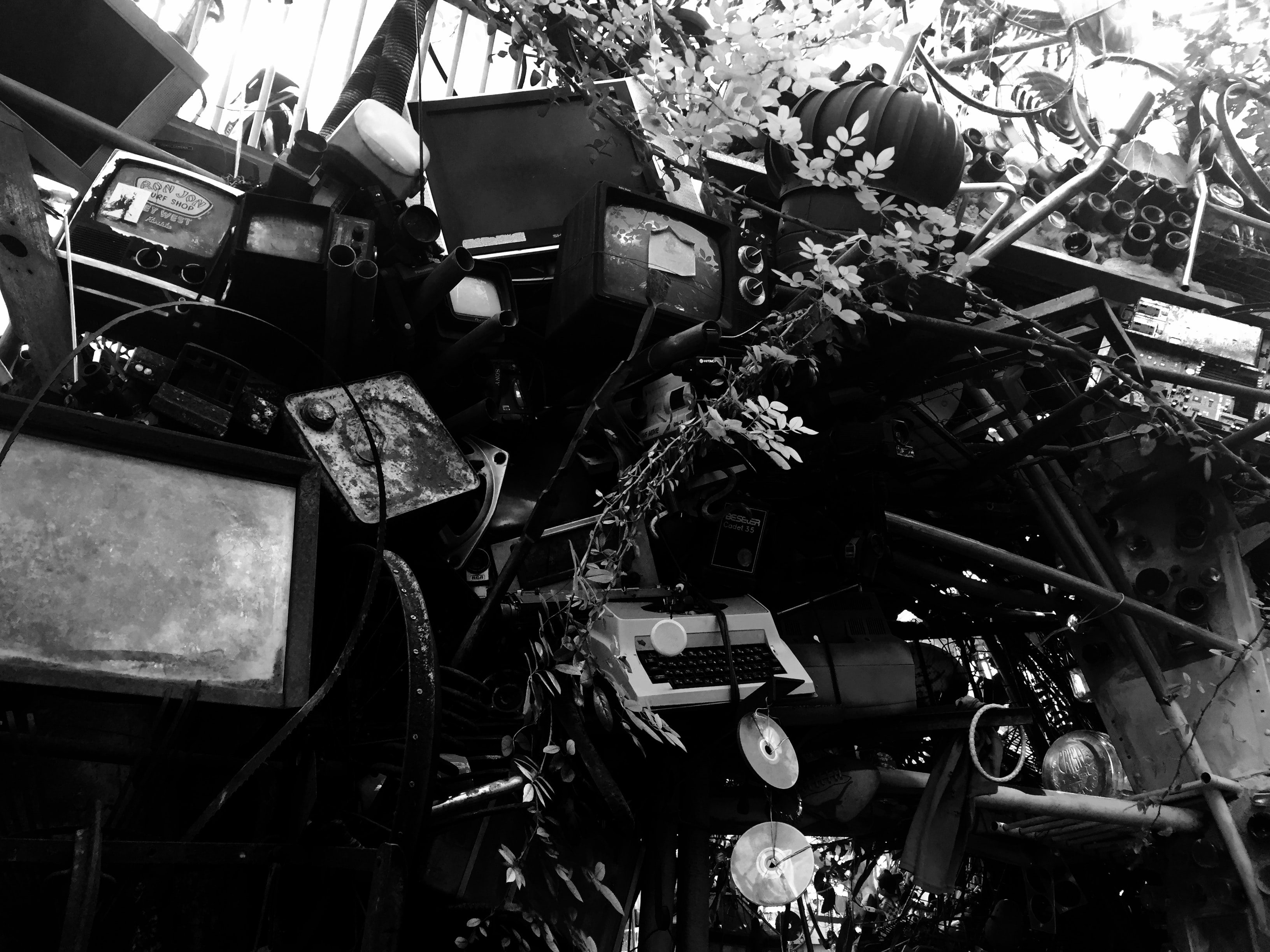 A black and white photo of a landfill site.