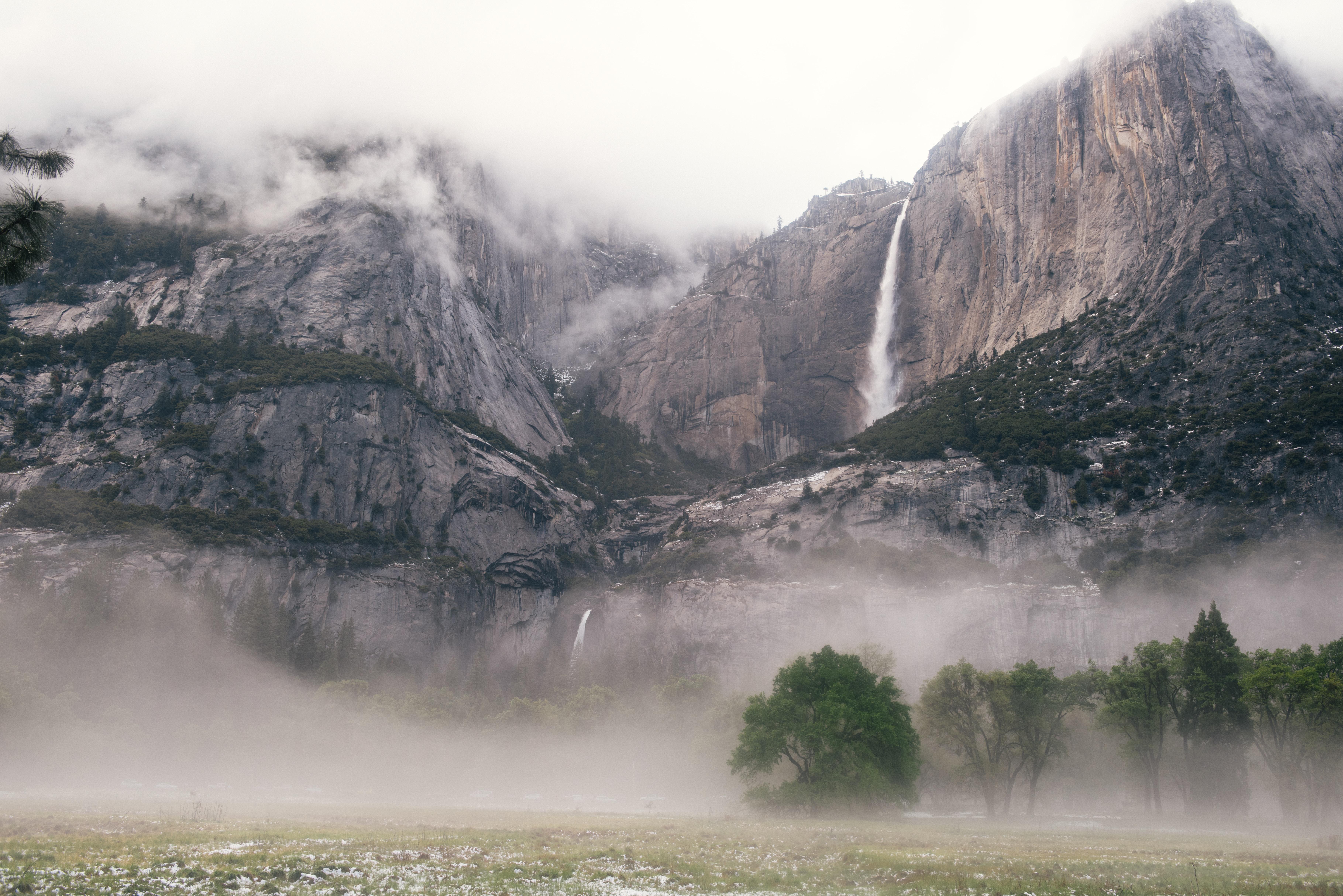 waterfalls between rocky mountain