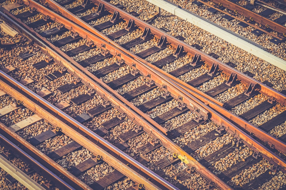 bird's eye view of train rails