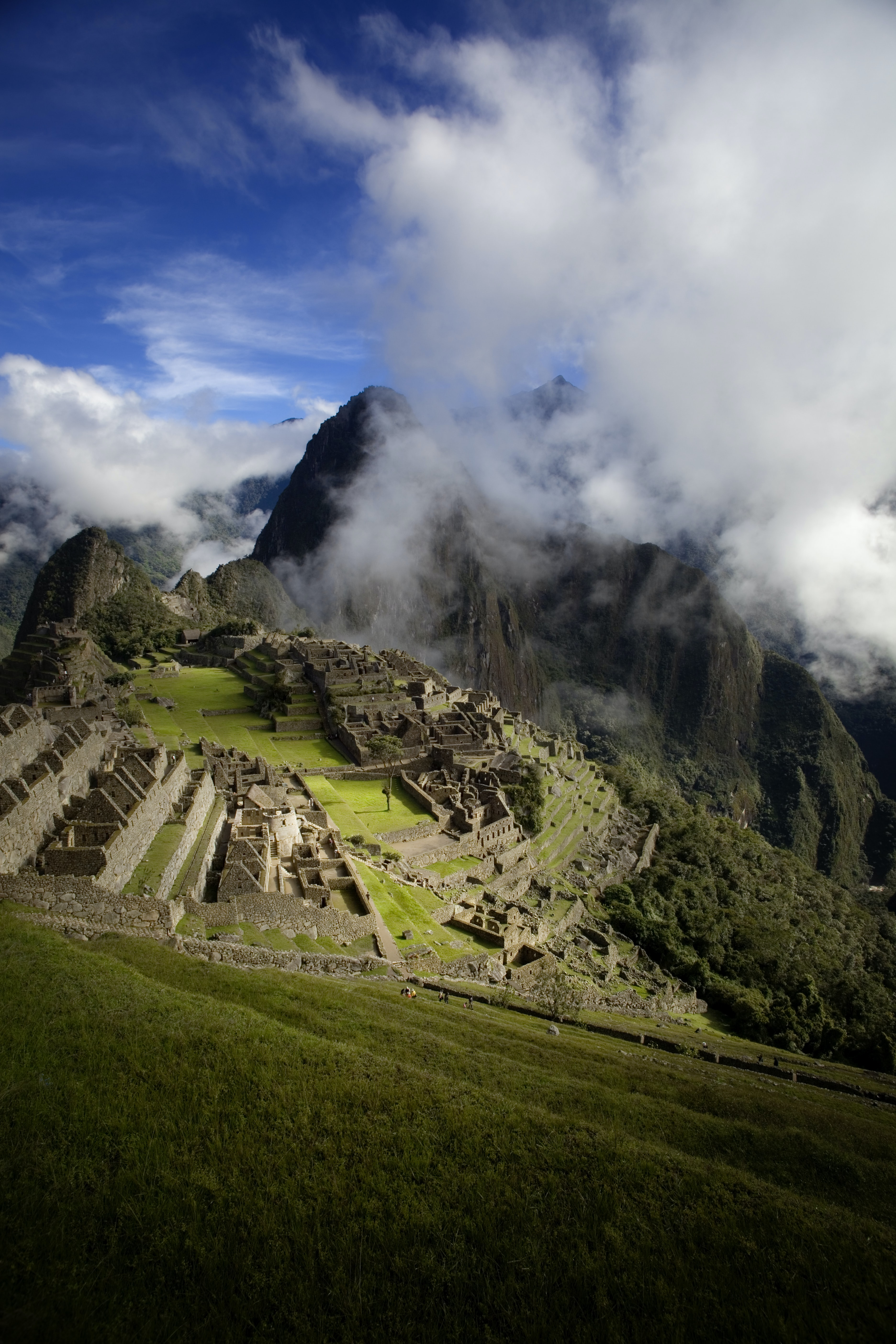 Cloudy day overlooking the ruins of Machu Picchu