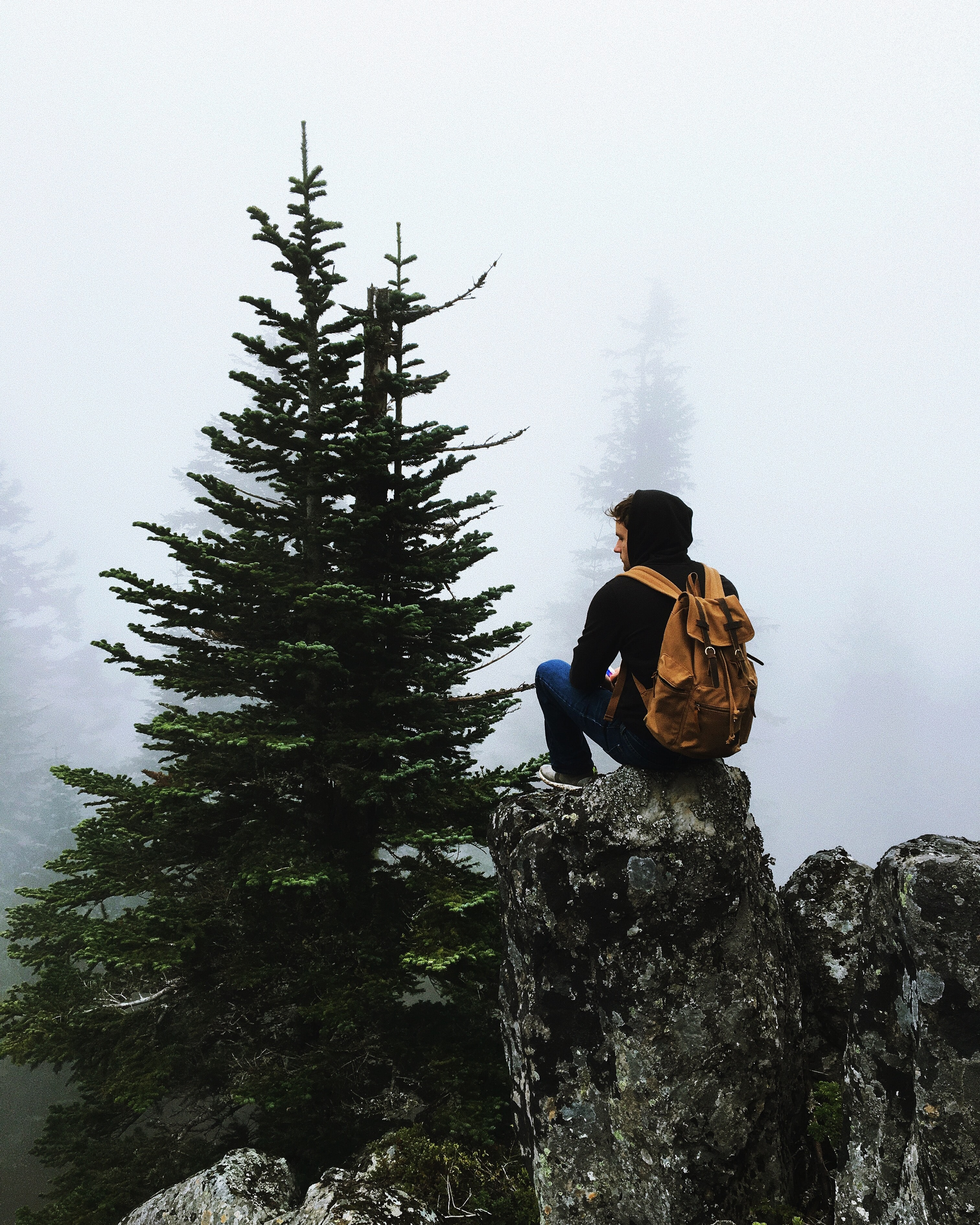A man with a backpack sitting on a vertical rock overlooking mist-shrouded trees