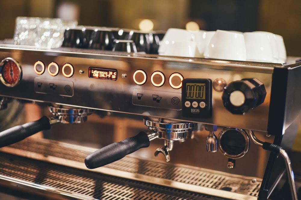 close view of gray espresso machine