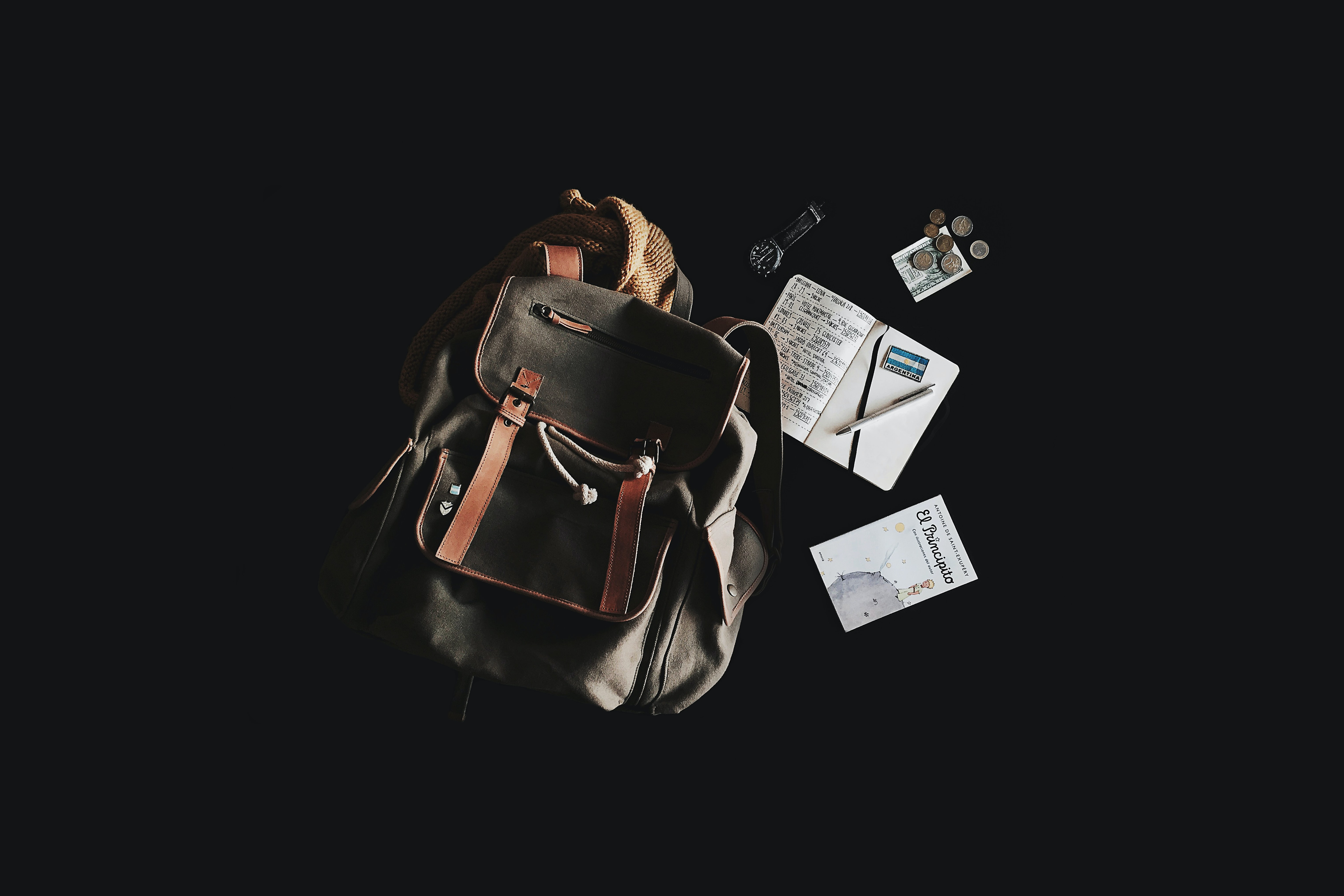"A backpack, a watch, a ""Little Prince"" book and coins against a black background"