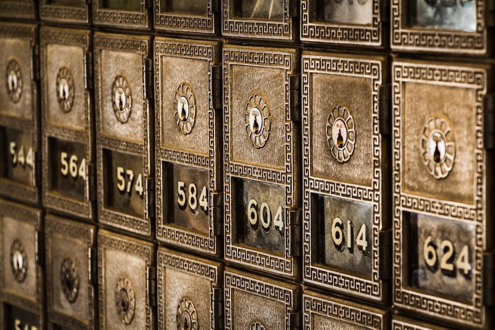 Numbers on metal deposit boxes in a bank
