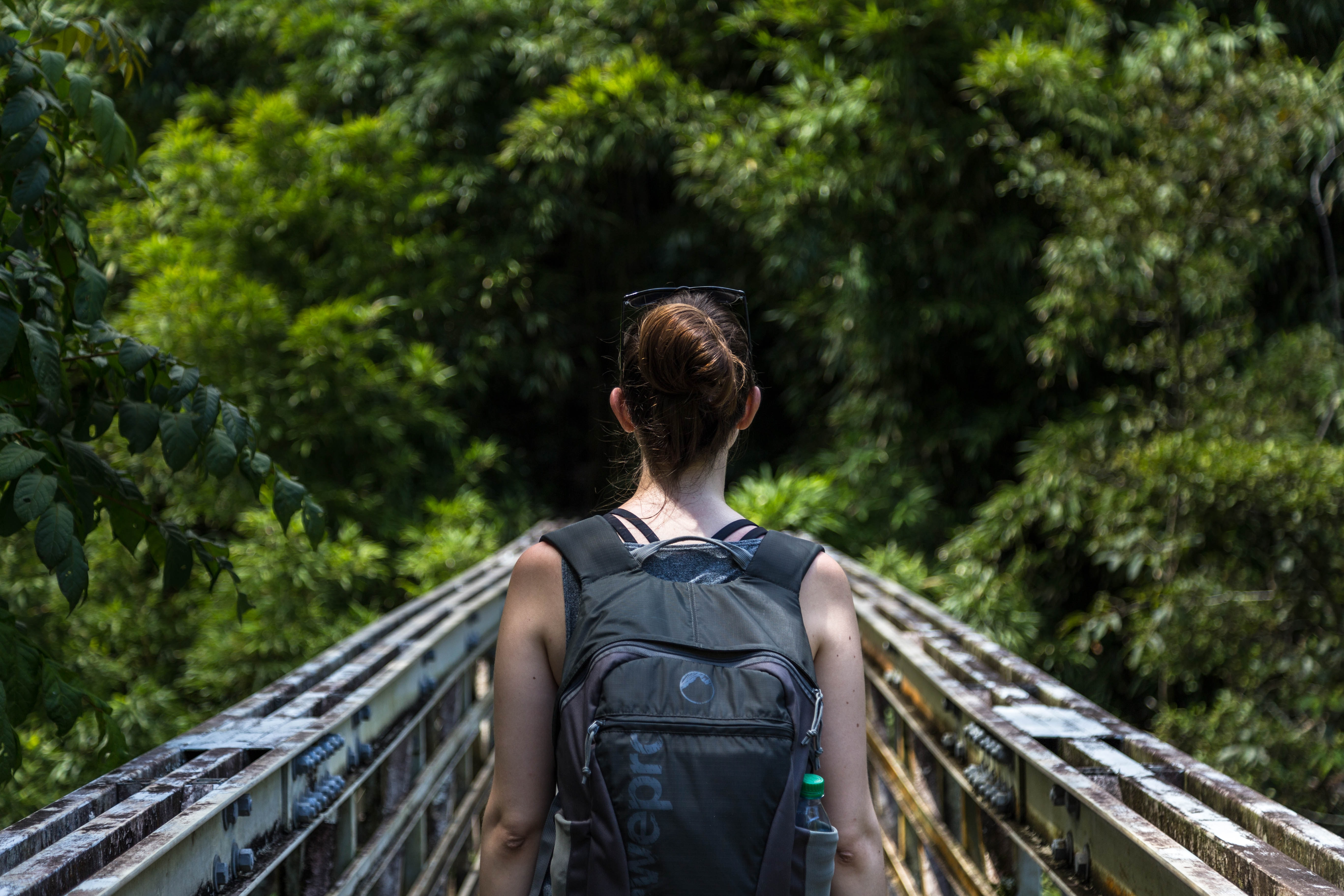 Hiker in a backpack walks along a narrow bridge in the jungle