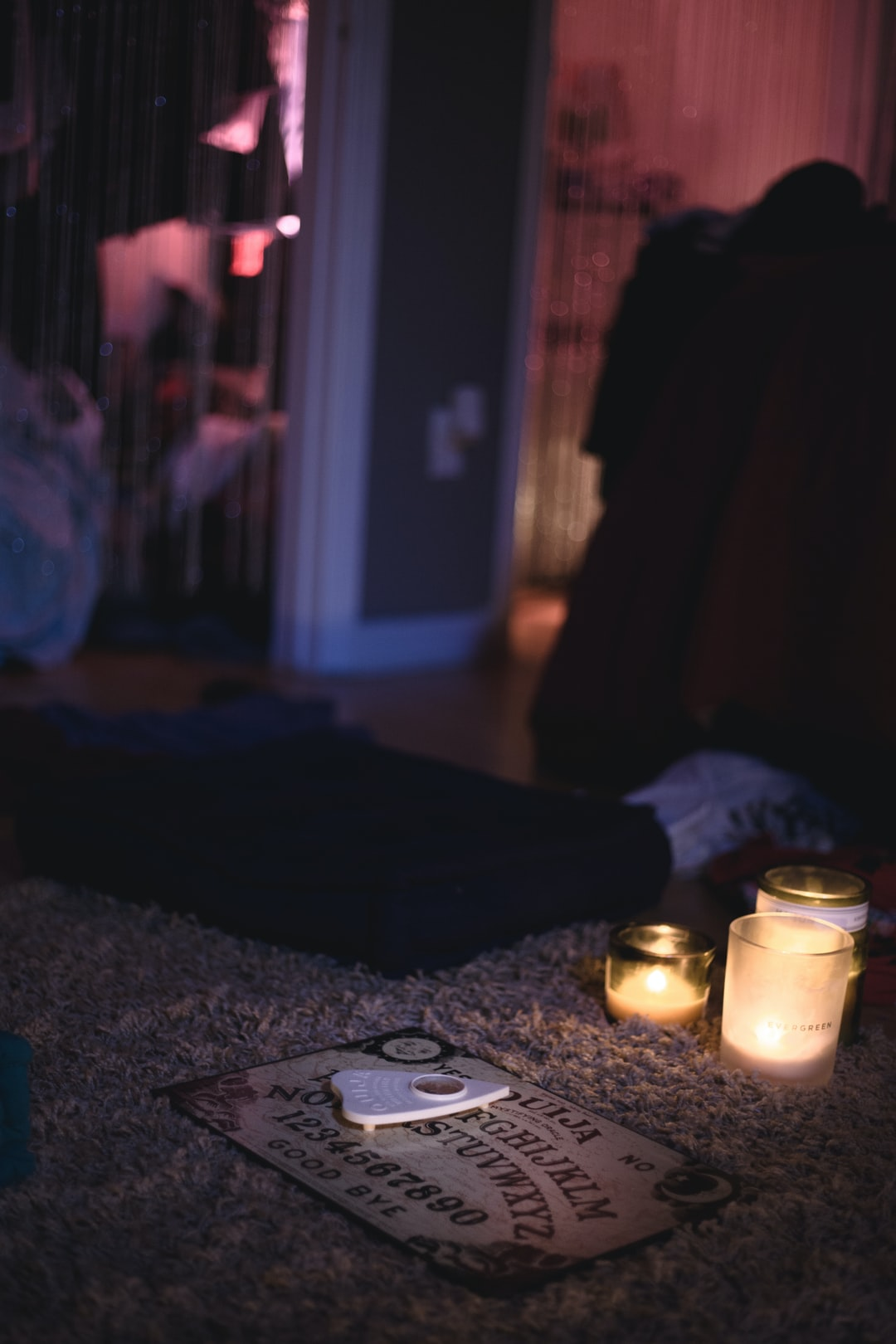 Ouija Board on a bedroom floor