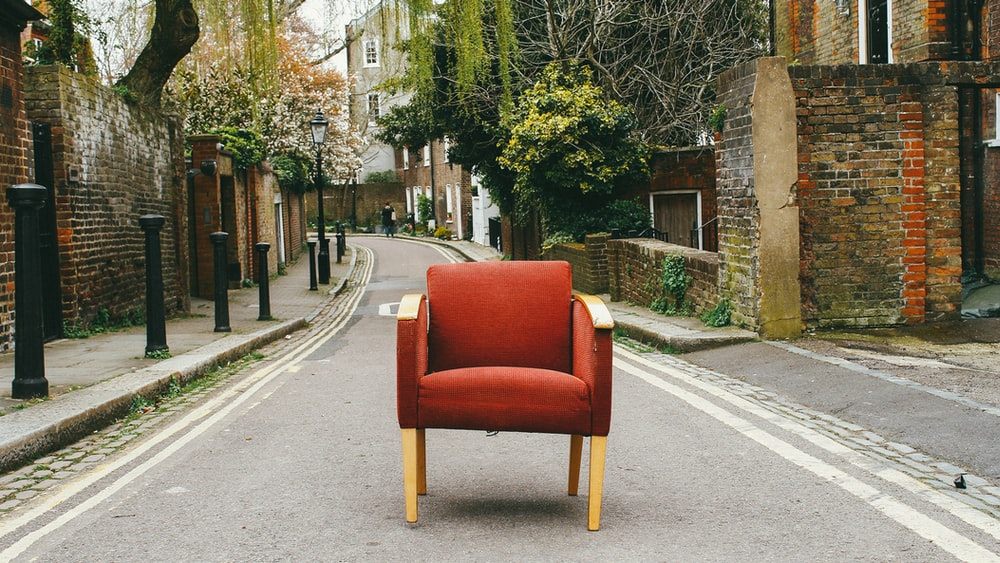 red and beige chair
