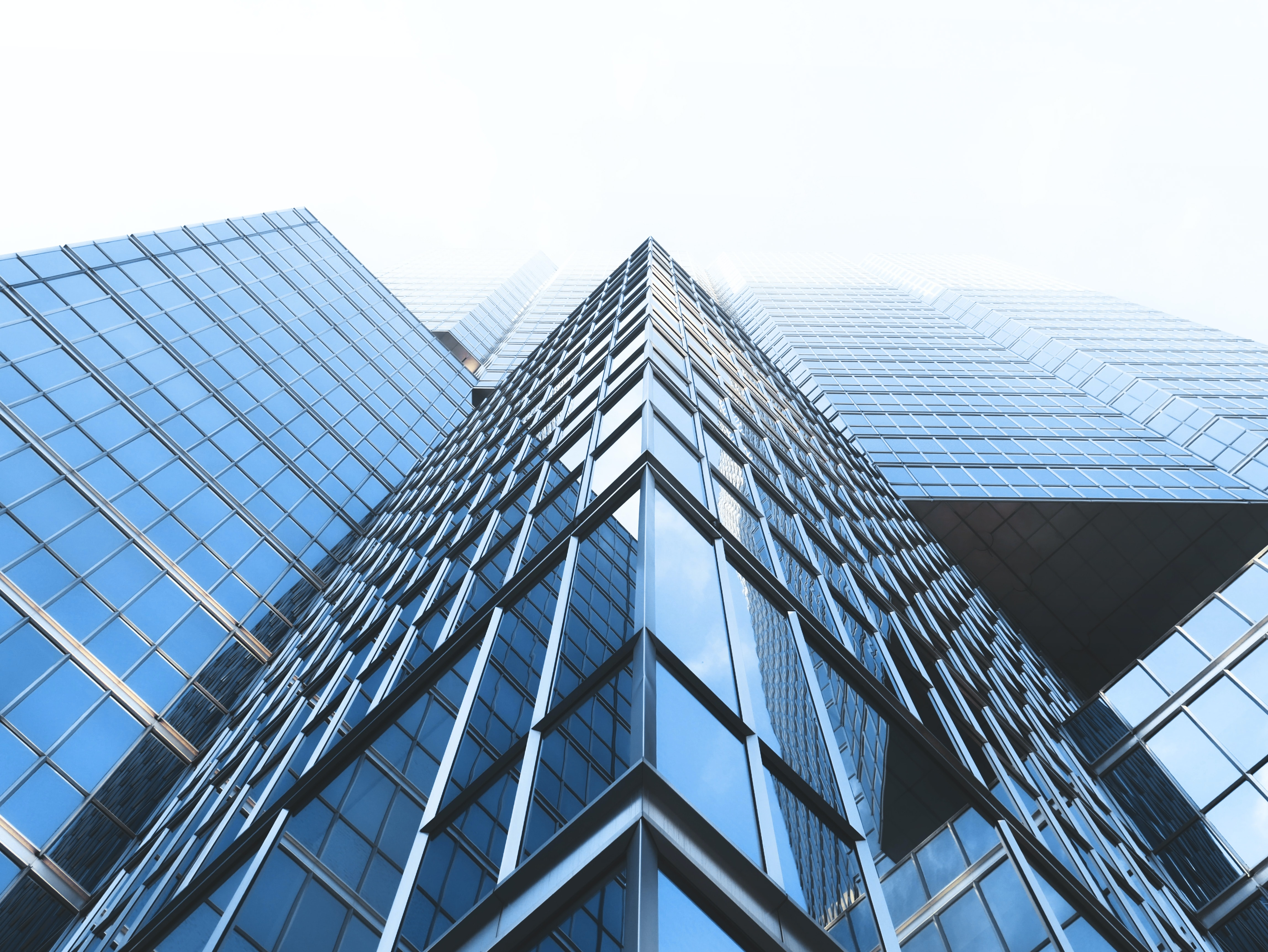 A low-angle shot of the sharp edges of a glass skyscraper shrouded in fog