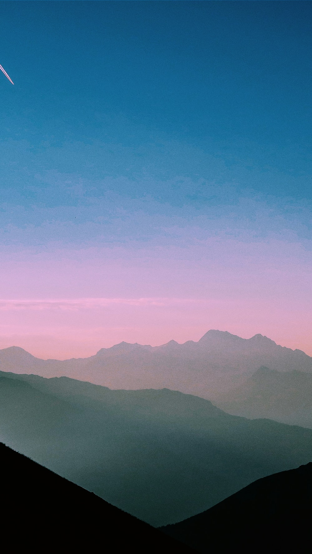 aerial view of foggy mountains
