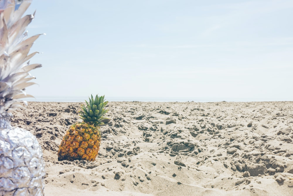 pineapple fruit on sand