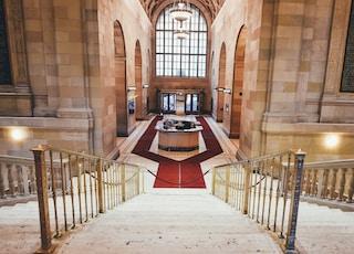 red carpet surrounds the reception desk