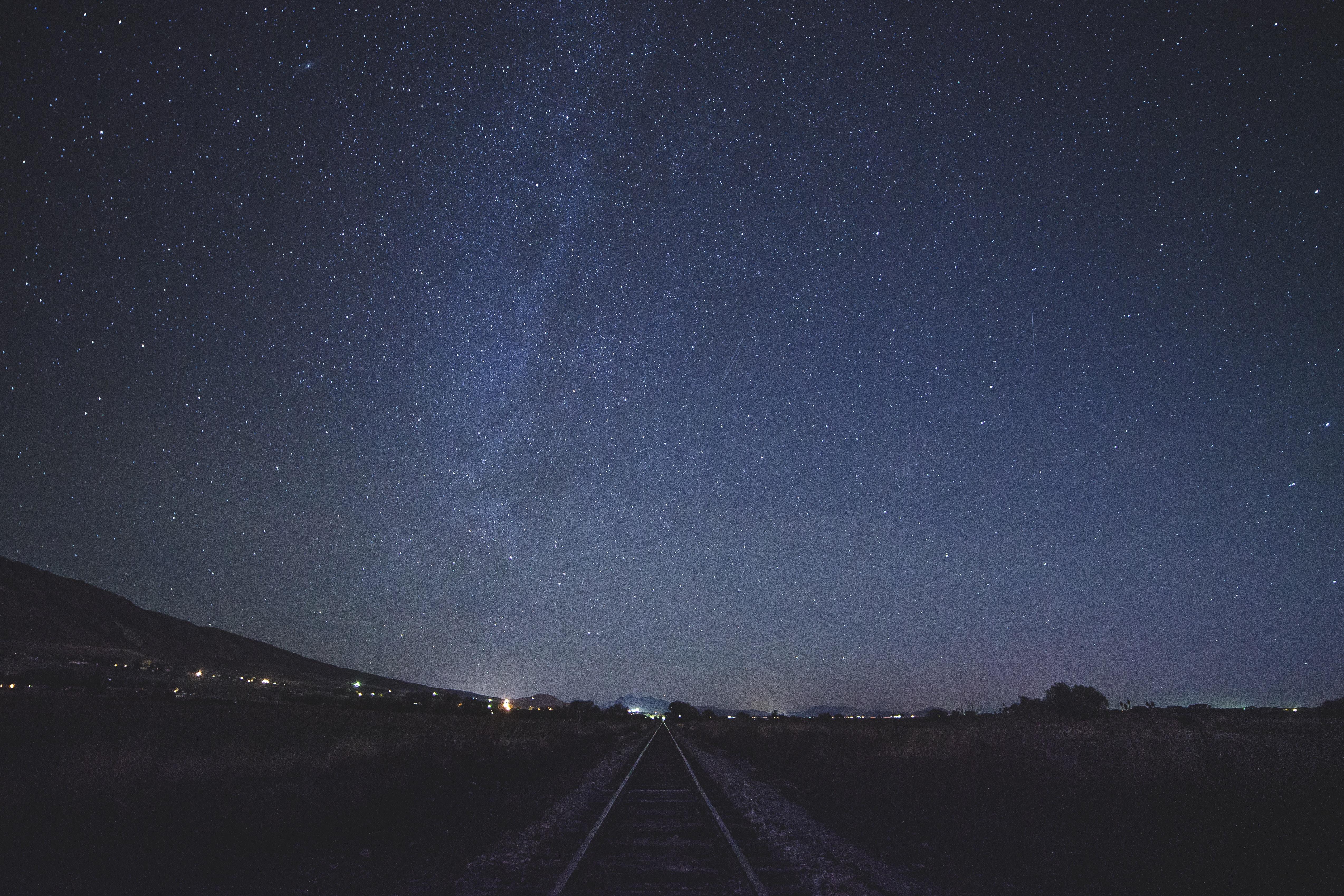 train rail during night time