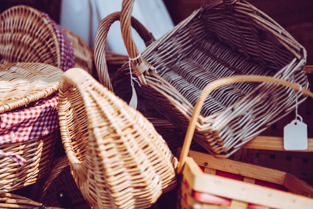 brown wicker basket lot