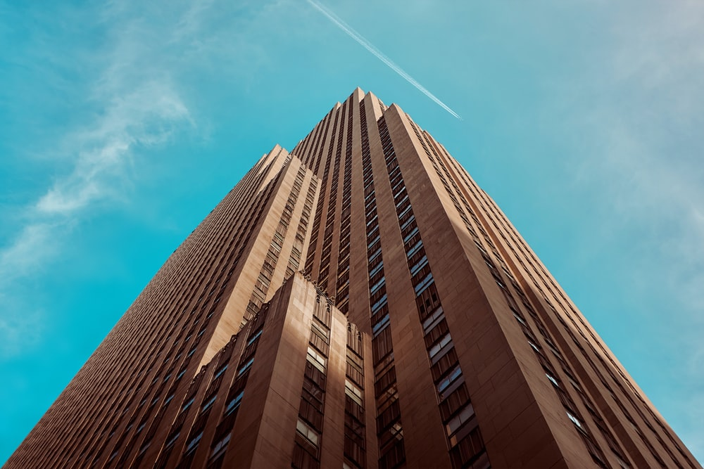 worm's eye view of brown building