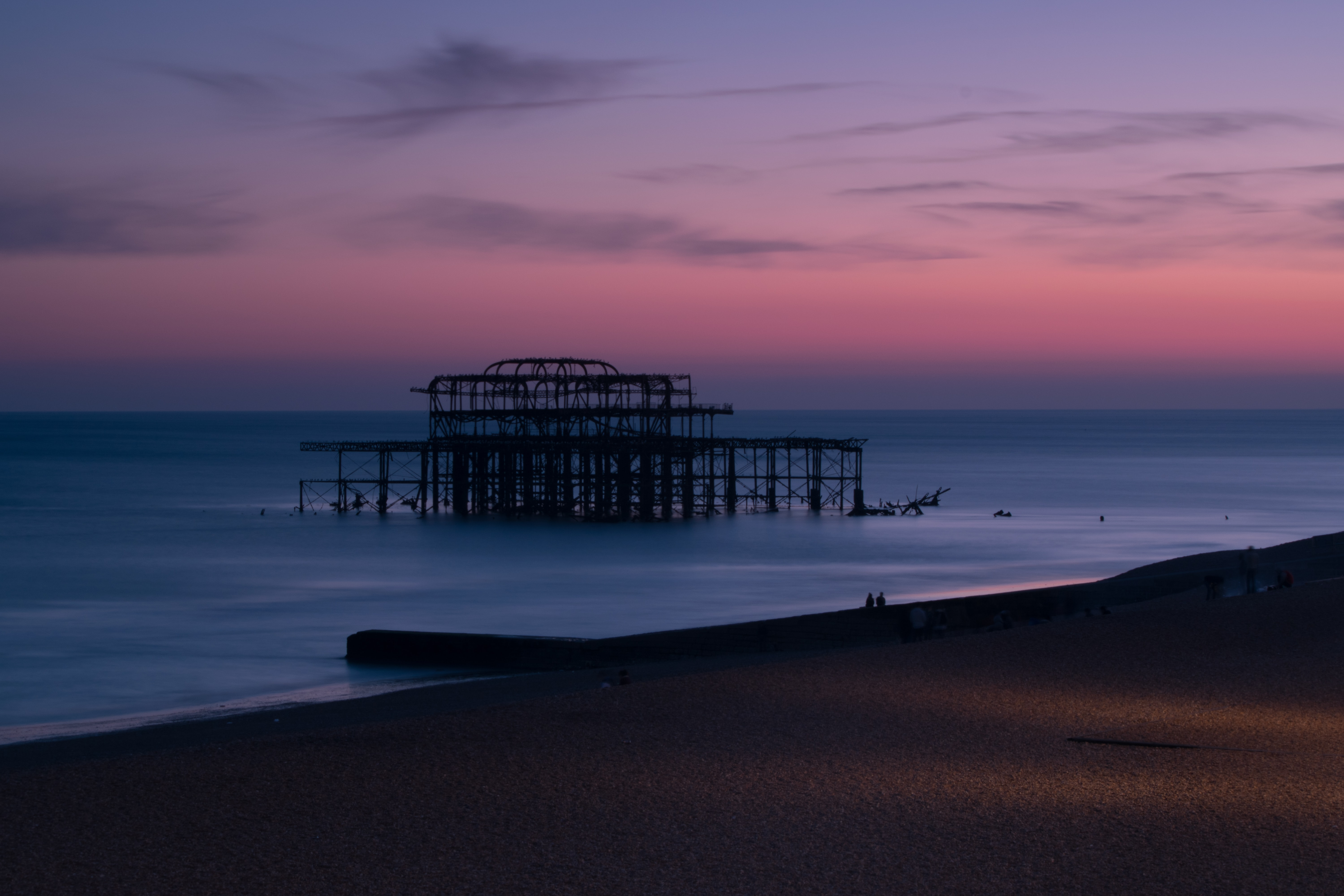 A purple sunset at a pier on a Brighton seafront