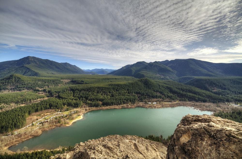 body of water near mountain peak