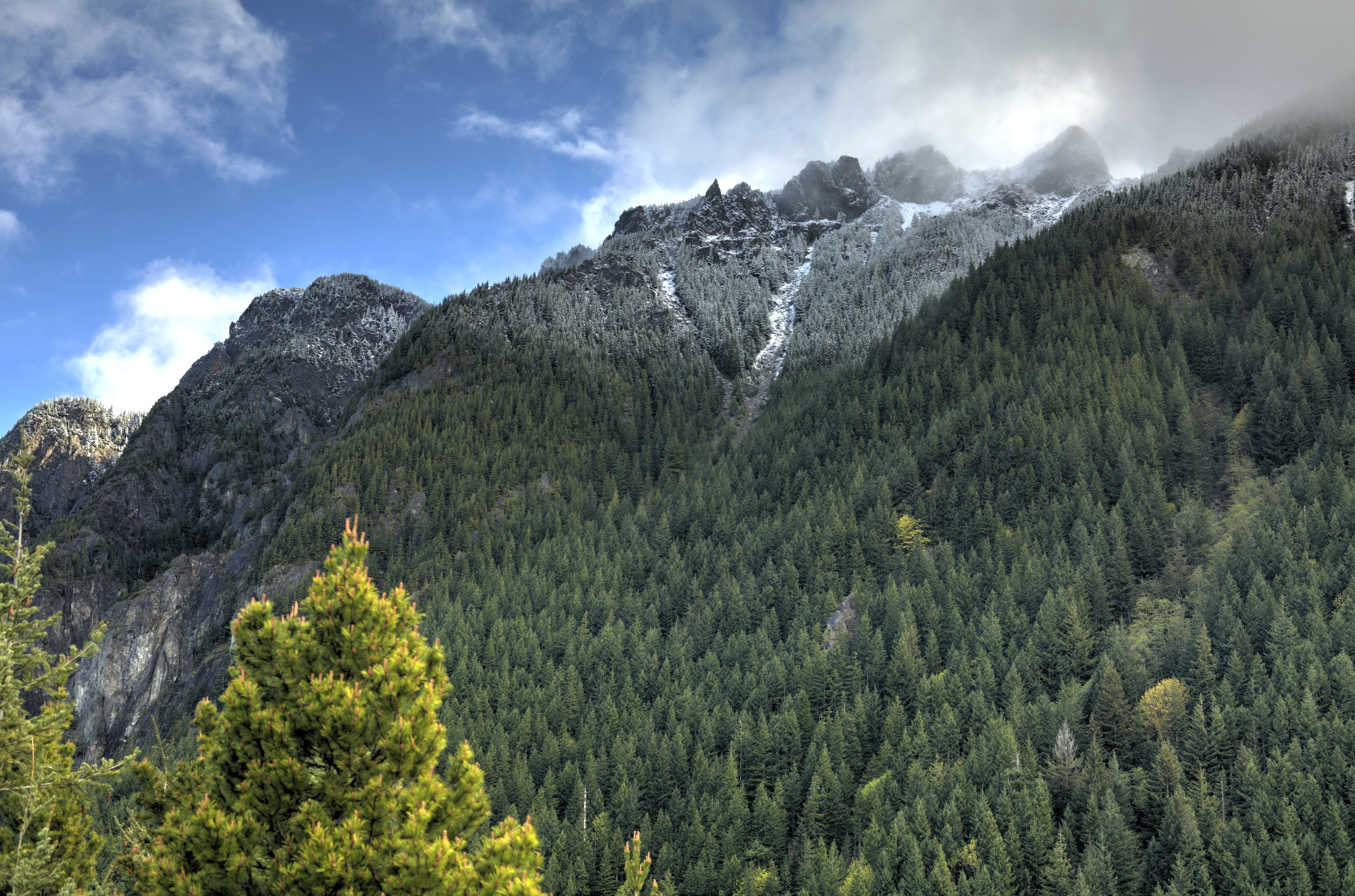 Clouds gathering over the crest of a wooded mountain