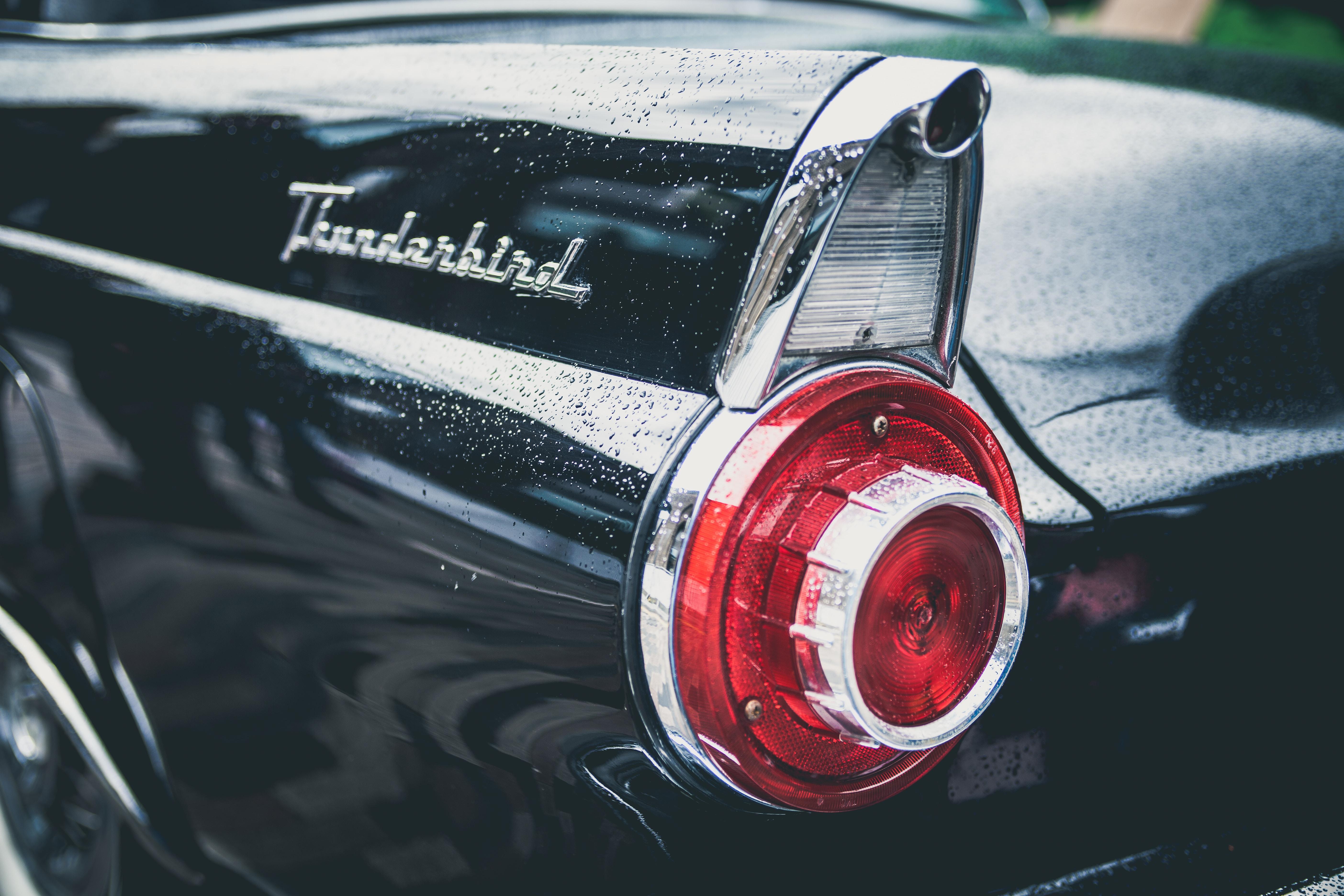 Close up rear end retro black thunderbird car with reflection at Lewis Cubitt Park