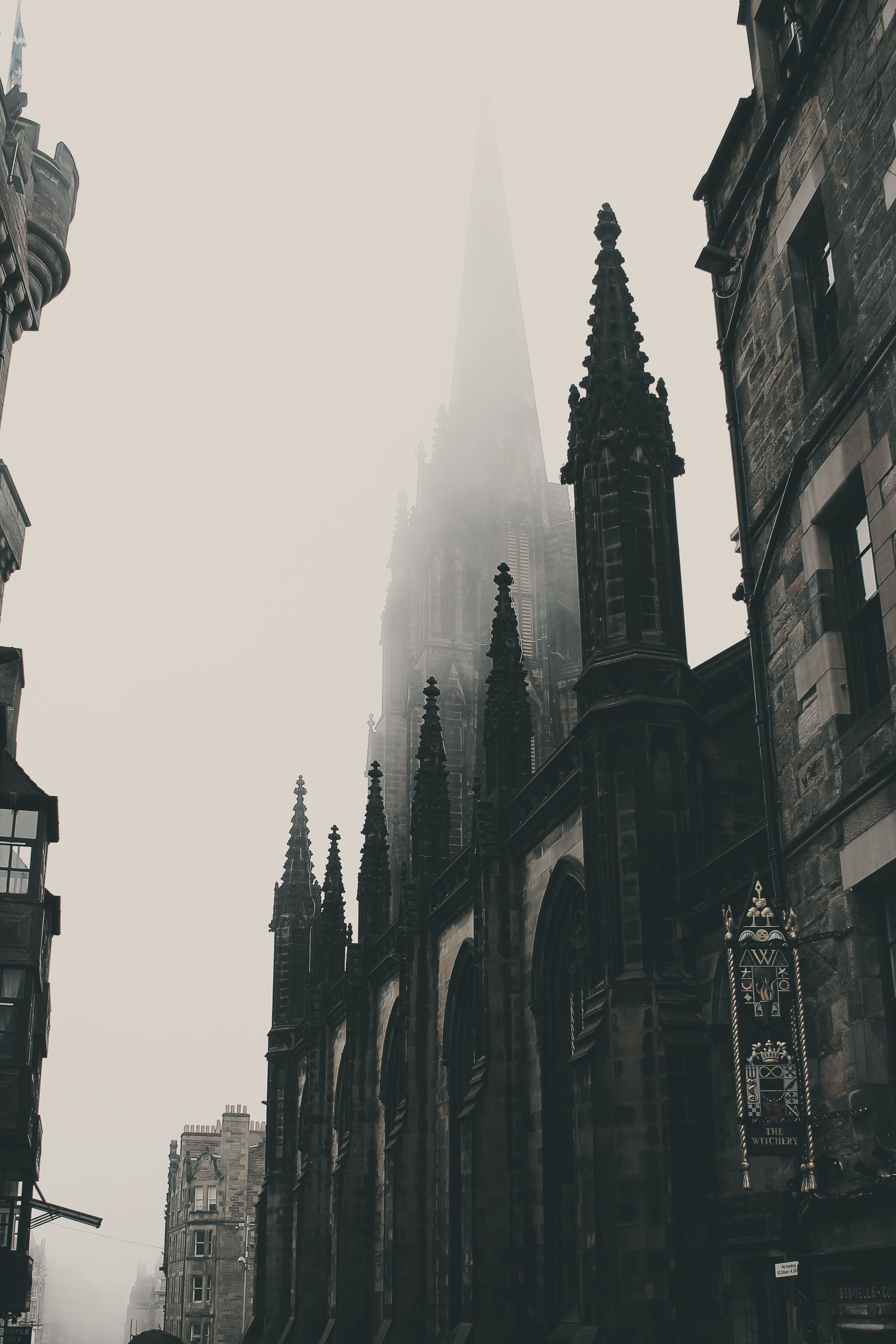 Monochromatic gothic cathedrals line the history streets of Edinburgh