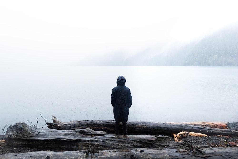 man standing beside tree logs facing body of water