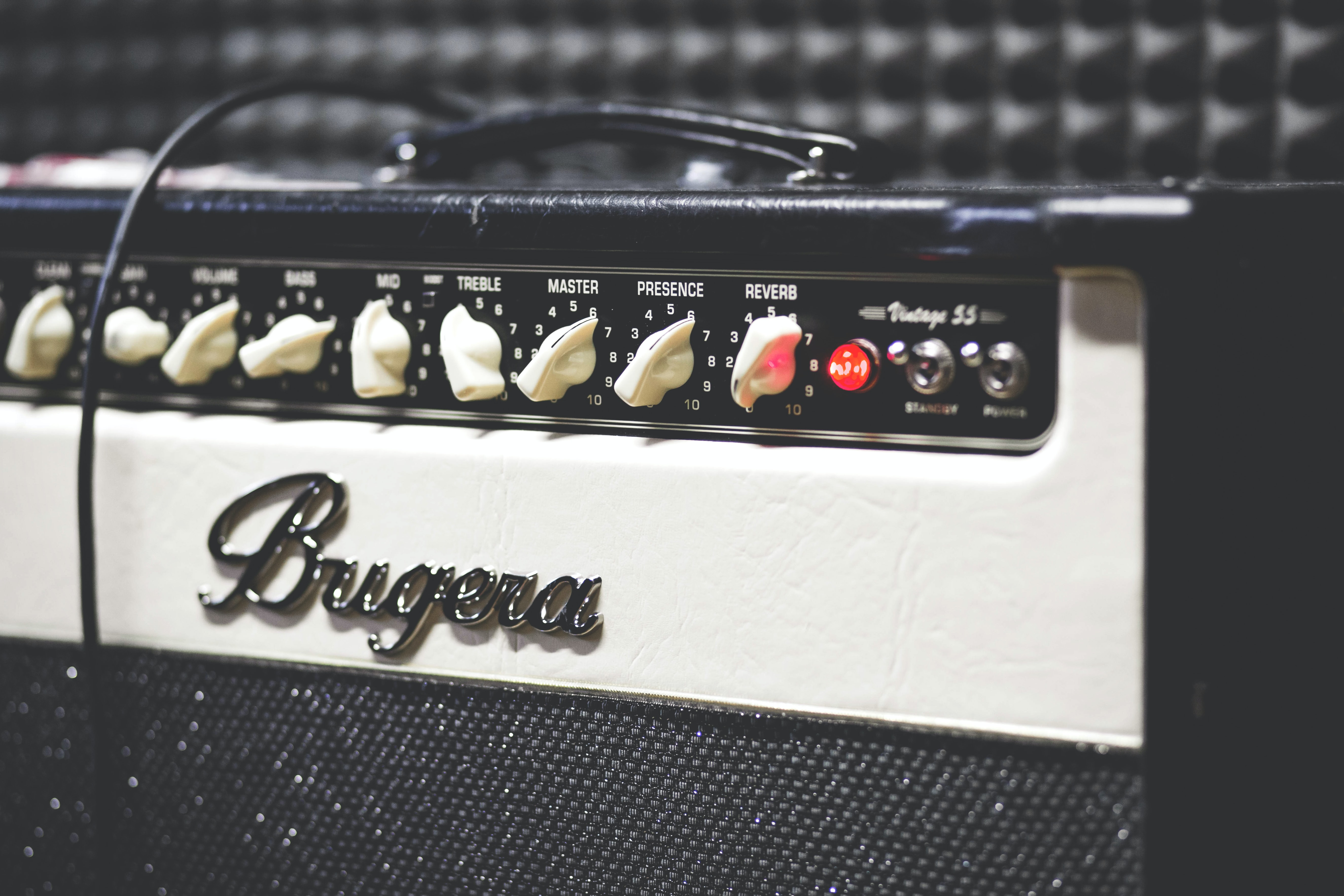 A close-up of a Bugera amplifier