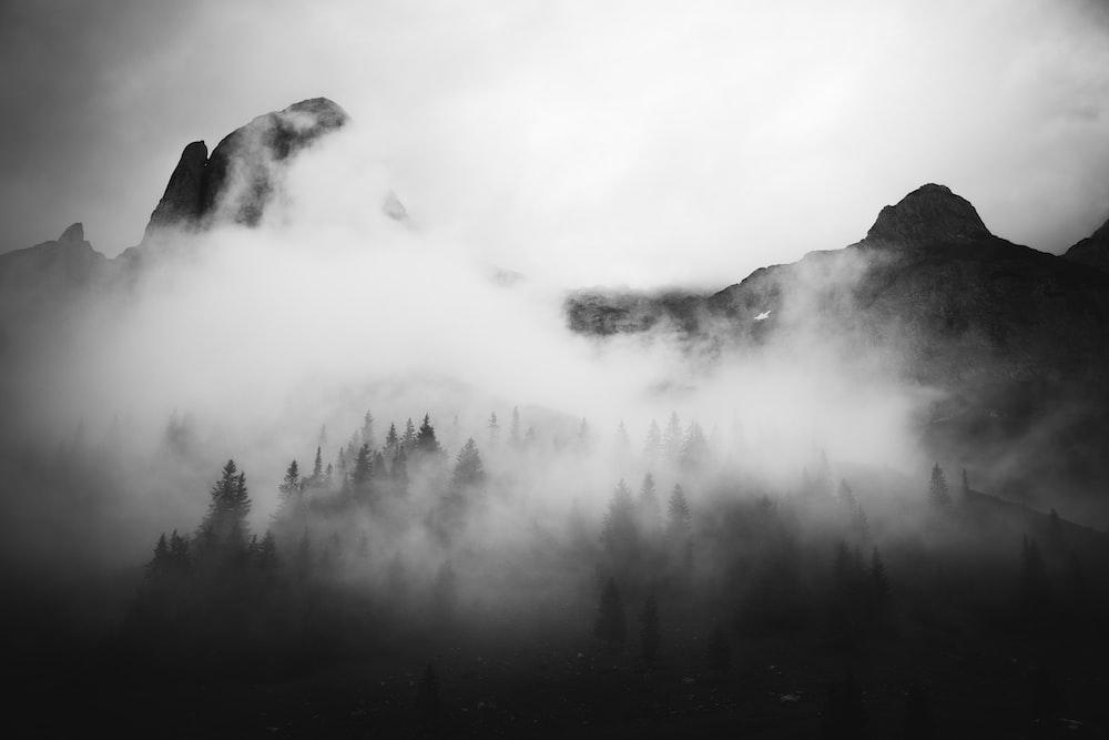 mountain with fogs photo