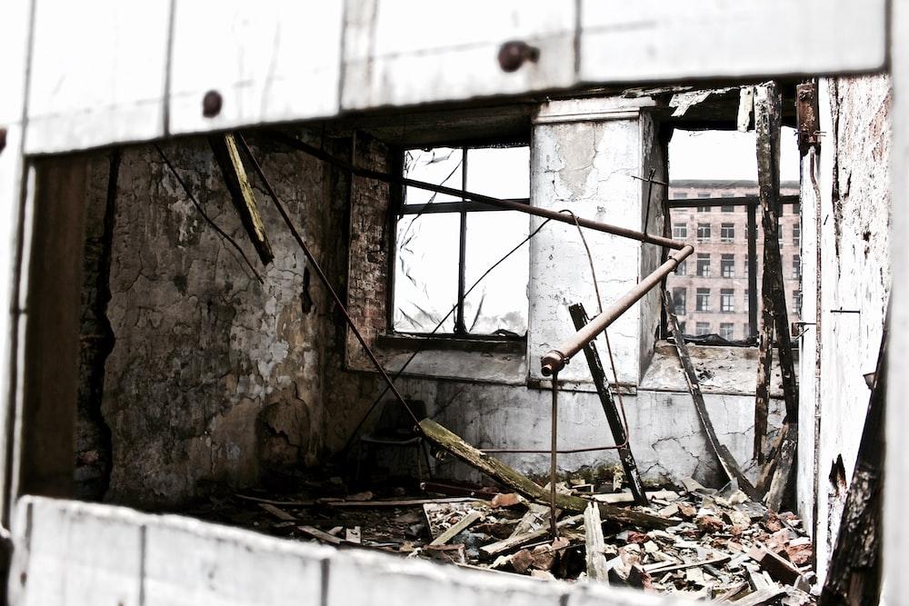 crash metal and wall