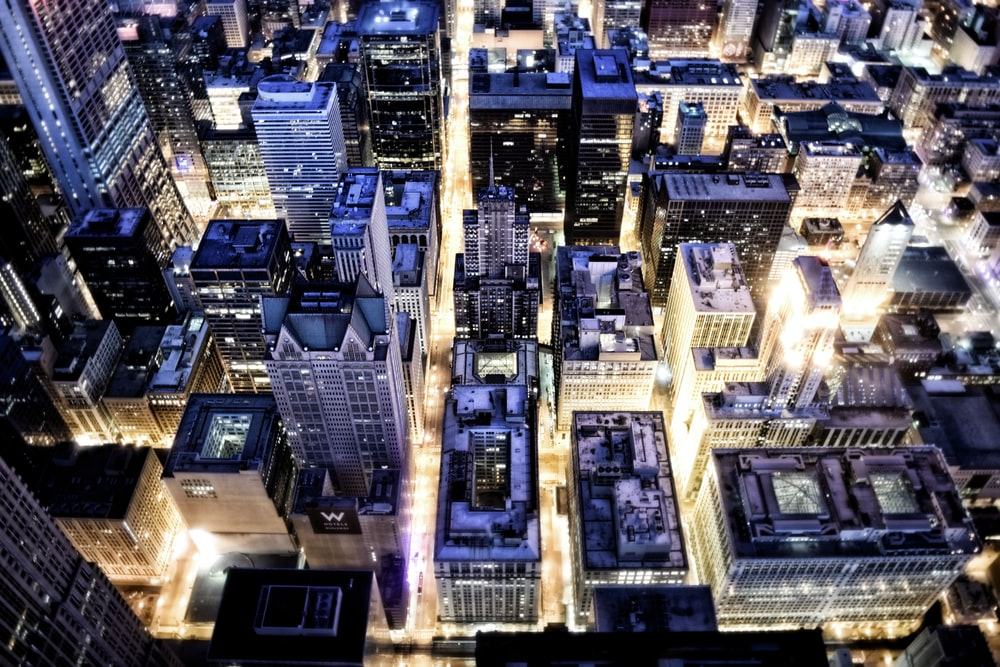 top view of cityscape during night time