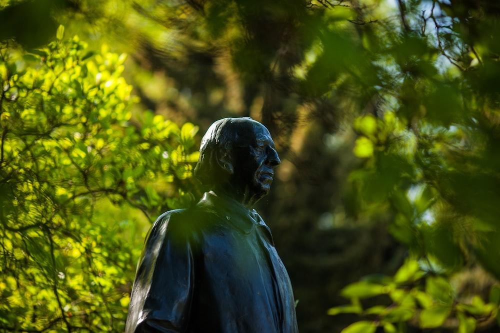 blue statue of a man