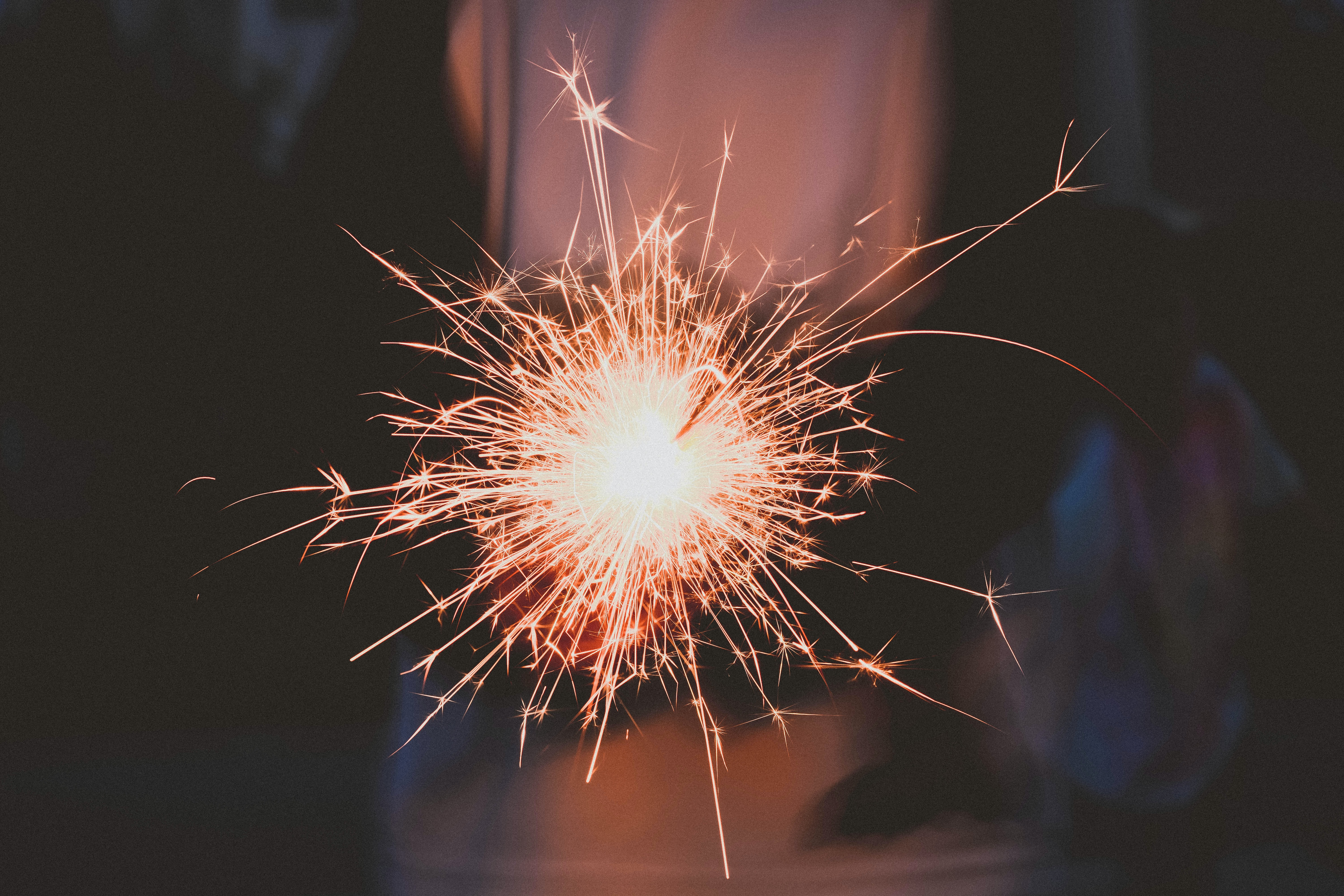 A sparkler burning at night