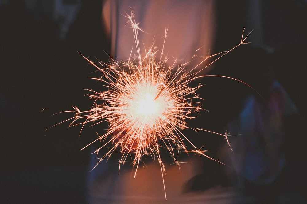 timelapse photography of sparkler