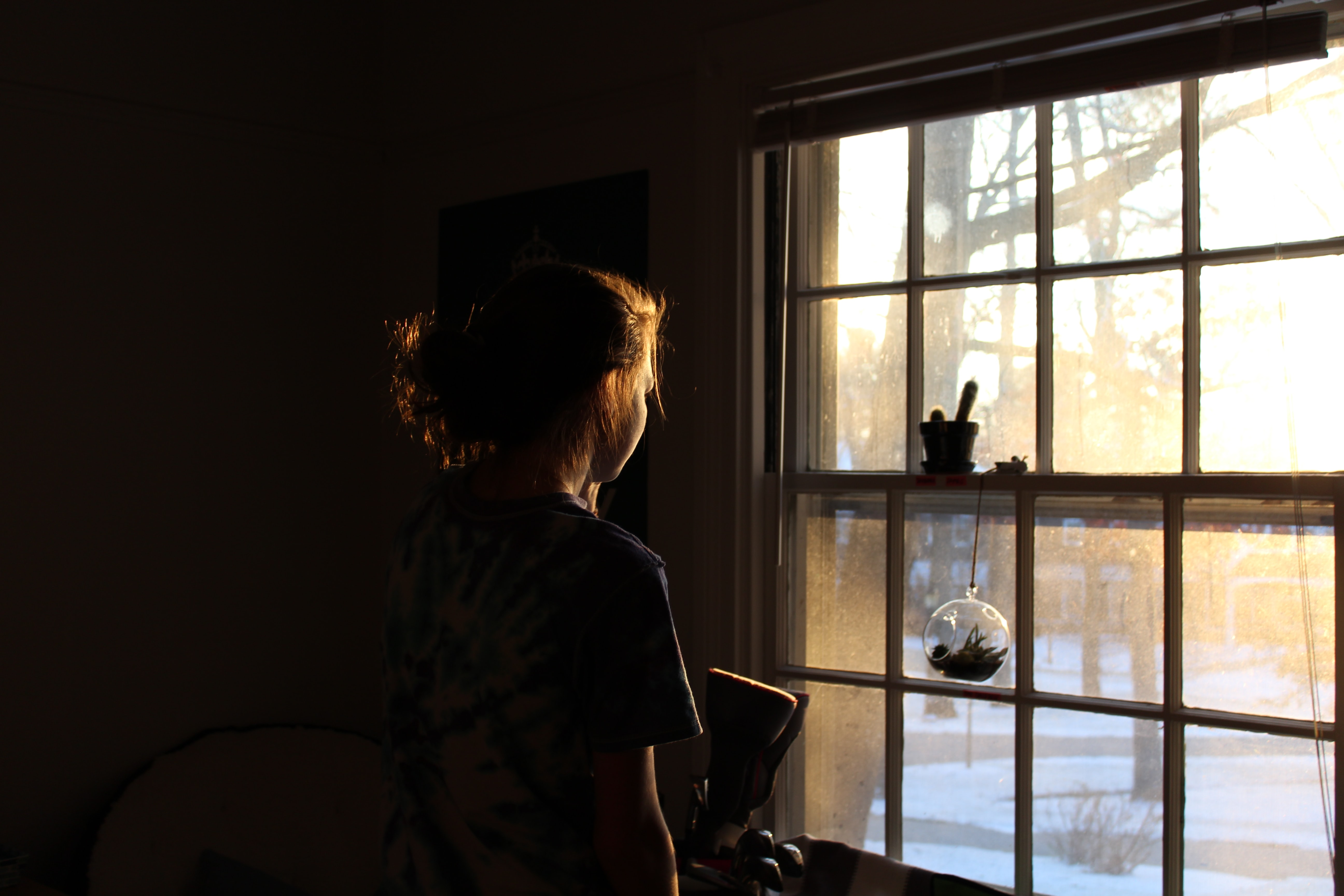 A woman's dark silhouette looks out the window into the brightness of the day.