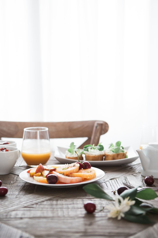 dishes on white ceramic plates