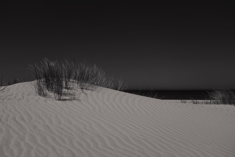 Beach sand dunes rippled by the wind in dark