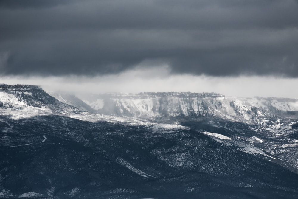 black and white mountains at daytime