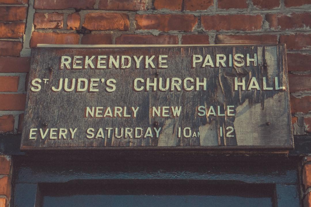 Rekendyke Parish signage mounted on wall