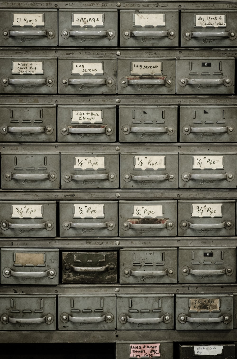 gray metal drawers
