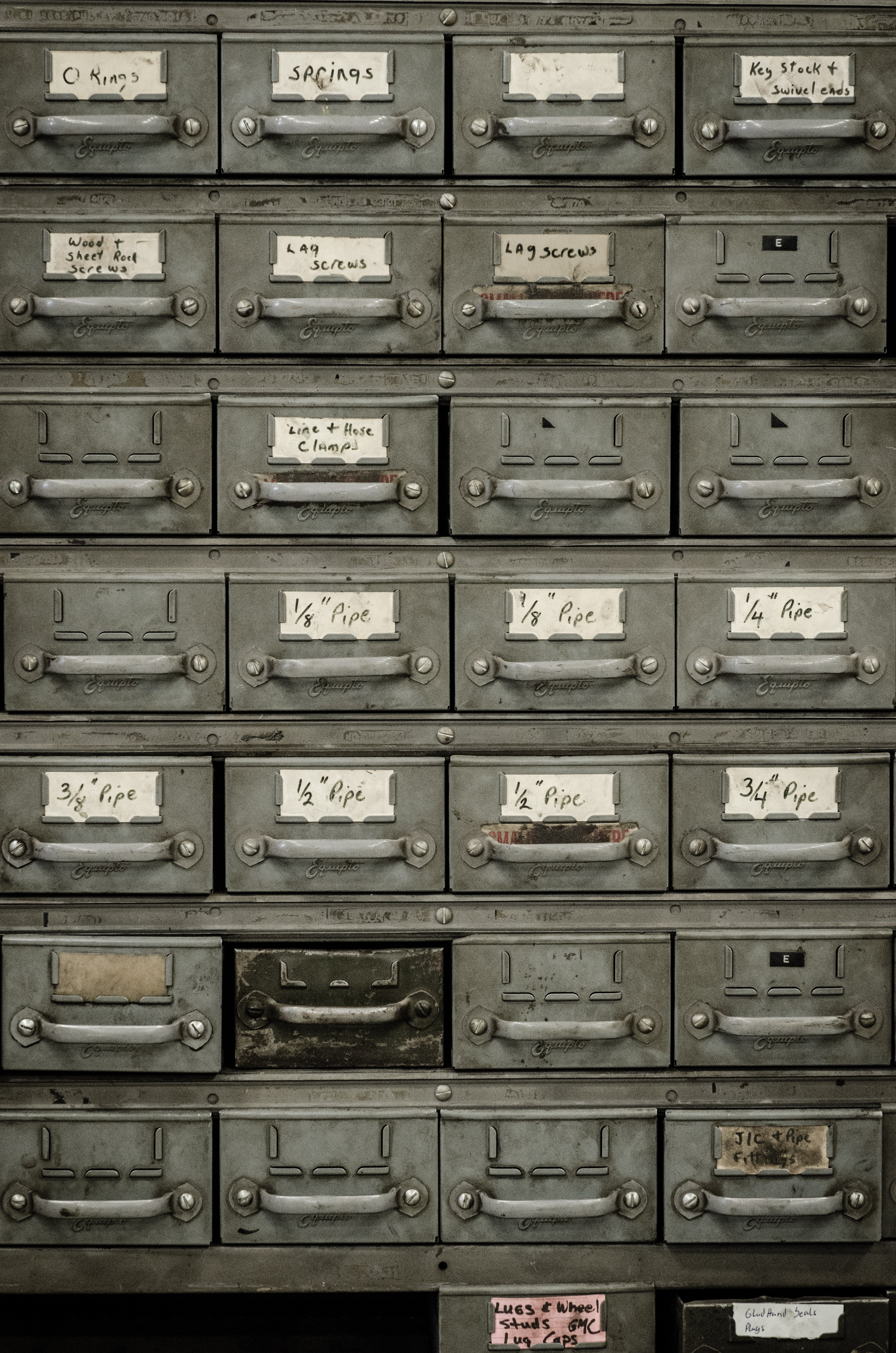 An old document cabinet with small drawers