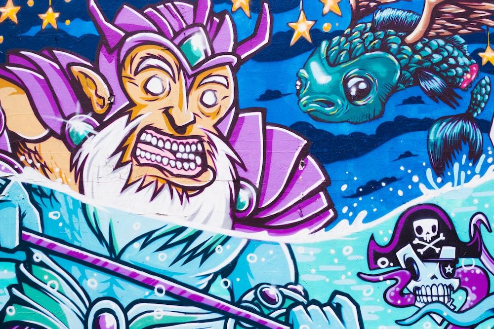 man wearing purple helmet cartoon character illustratio