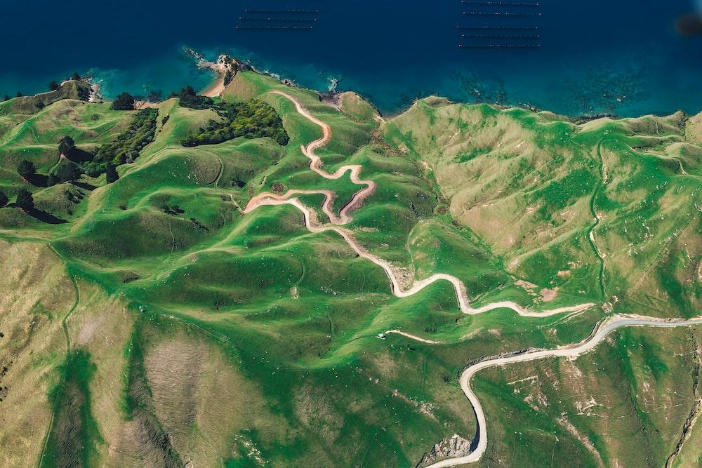 aerial photography of mountain ridge