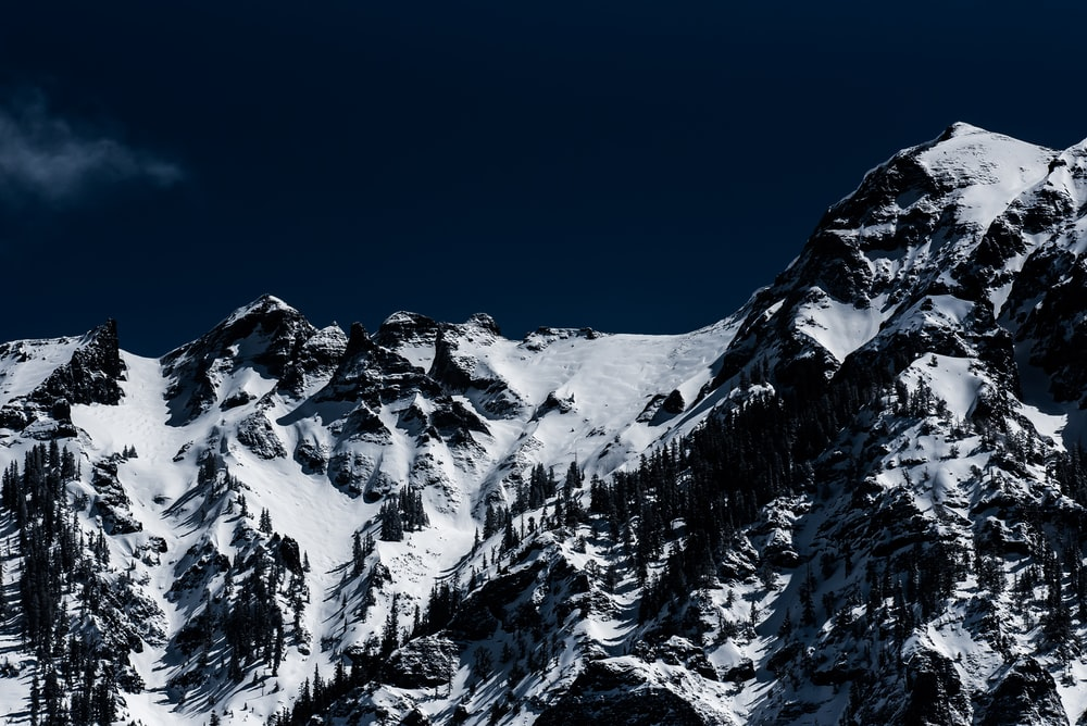mountains with snow under gray sky