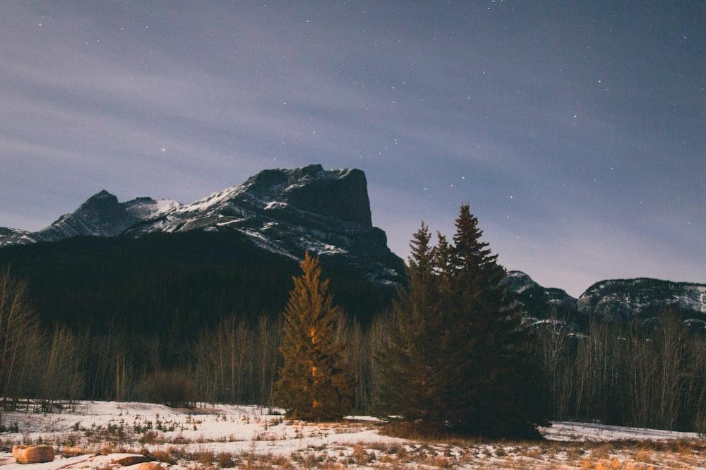 black and white mountain at daytime