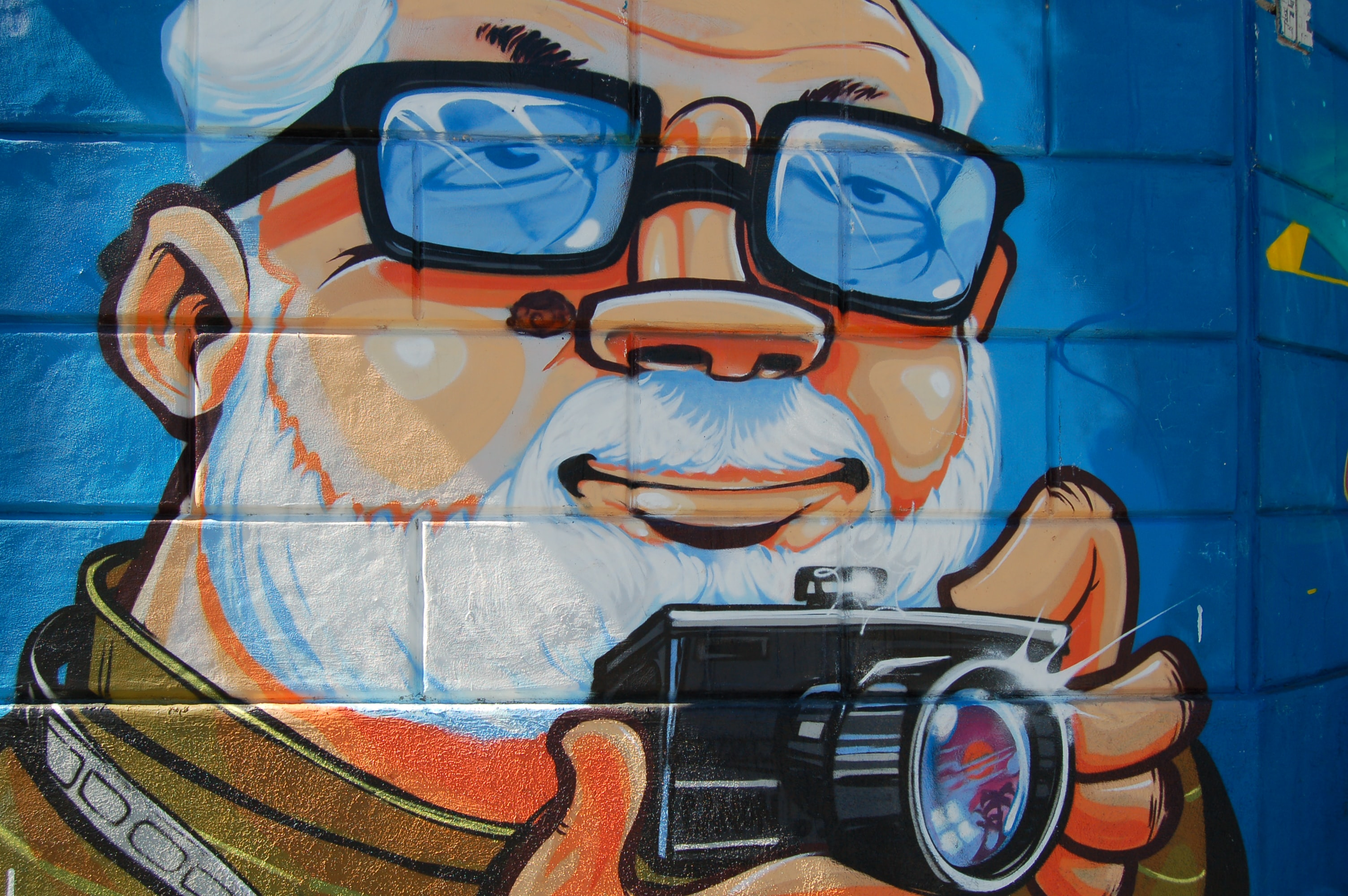 A wall mural of an old man with a white beard and hair holding a camera.