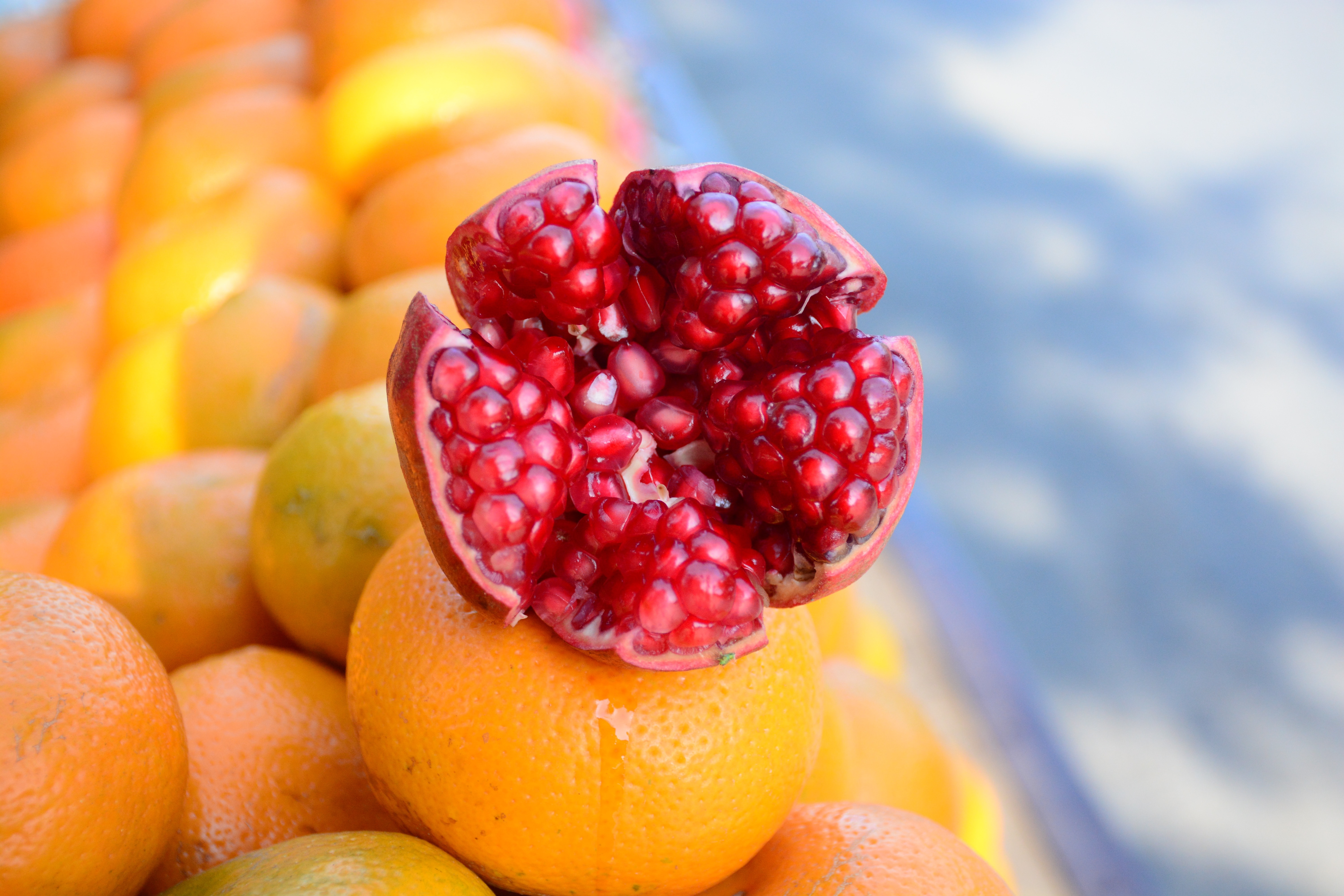 shallow focus photography of yellow and red fruit